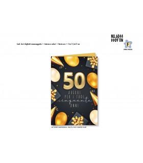 Biglietto Cromo Buon Complenno Palloncini Oro 50 Anni conf. 6 pz. monosoggetto