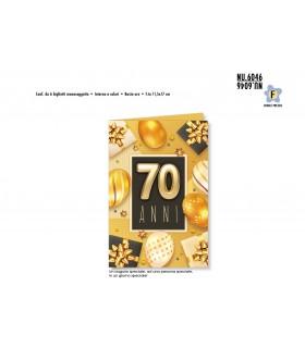 Biglietto Cromo Buon Complenno Palloncini Oro 70 Anni conf. 6 pz. monosoggetto