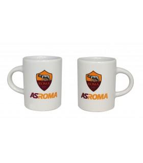 Set 2 Tazzine in Ceramica A.S. Roma Bianche