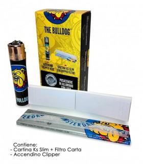 The Bulldog  Astuccio 100 pz. con Clipper + Cartina Ks Slim con Filtro Carta