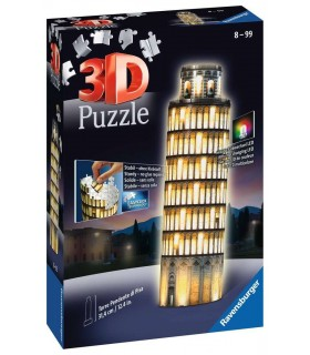 Puzzle Ravensburger 3D che si Illumina H.29cm 216 pz. Torre di Pisa Night