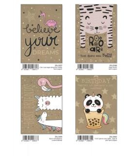 Biglietto Marpimar Animaletti Compleanno su Carta Kraft conf. 12 pz. assortiti