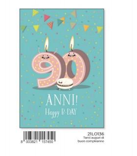 Biglietto Marpimar Compleanno 90 Anni con glitter conf. 6 pz. monosoggetto