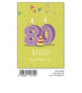 Biglietto Marpimar Compleanno 80 Anni con glitter conf. 6 pz. monosoggetto