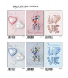 Biglietto Marpimar Battesimo Portasoldi con Glitter conf. 12 pz. assortiti