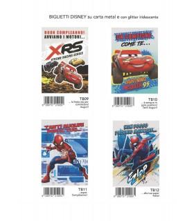 Biglietto Marpimar Cars/Spiderman Compleanno con glitter conf. 12 pz. assortiti