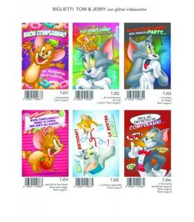 Biglietto Marpimar Tom & Jerry  Compleanno con glitter conf. 12 pz. assortiti
