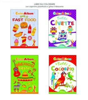 4 Libri da Colorare Marpimar da 16 Pagine ass. (Fast Food-Civette-Mexico-Cocorito) come da foto