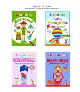 4 Libri da Colorare Marpimar da 16 Pagine ass. (Boy Scout-Mongolfiere-Kokeshi-Matrioska) come da foto