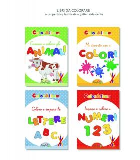 4 Libri da Colorare Marpimar da 16 Pagine ass. (Animali-Colori-Numeri-Lettere) come da foto