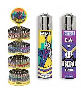 Accendino Clipper Large World Tour Expo Girevole da 192 pz. assortito con 16 colori