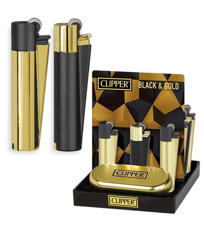 Accendino Clipper Large Black&Gold in Metallo Expo da 12 pz.