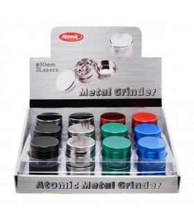 Grinder Atomic in Metallo 3 Parti Diametro 30mm Expo da 24 pz. assortito con 6colori