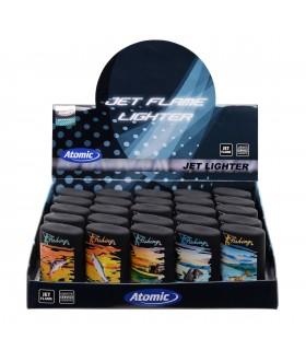 Accendino Elettronico Turbo Atomic Fishing Blue Jetflame conf. 25 pz. assortito con 5 fantasie