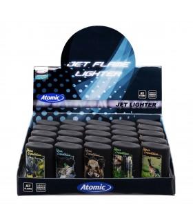 Accendino Elettronico Turbo Atomic Blue Jetflame Mod. Expedition conf. 25 pz. assortito con 5 fantasie