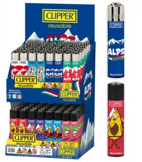 Accendino Clipper Large Combo italian Espositore  in Cartone da 96 pz. assortito con 8 grafiche