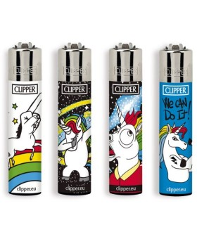 Accendino Clipper Large Cool Unicorns conf. 48 pz. assortiti con 4 grafiche