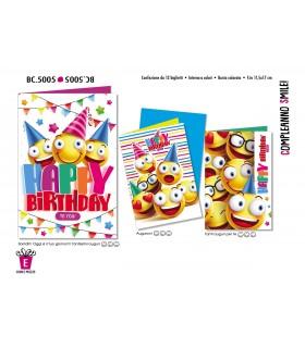 Biglietto Cromo Compleanno Smile conf. 12 pz. assortiti