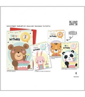 Biglietto Cromo Compleanno Bambini con Rotella 1-6 Anni conf. 12 pz. assortiti
