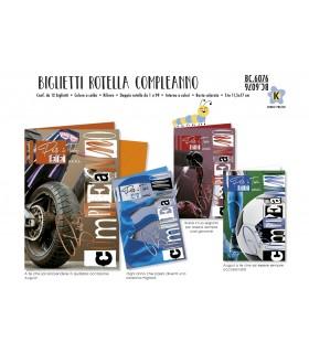 Biglietto Cromo Compleanno Maschile con Rotella  conf. 12 pz. assortiti