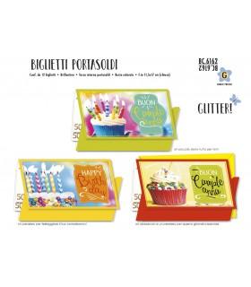 Biglietto Cromo Compleanno Fotografico Portasoldi conf. 12 pz. assortiti