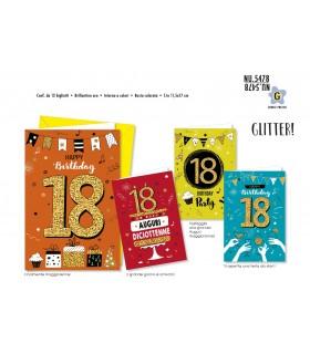 Biglietto Cromo Compleanno18 Anni conf. 12 pz. assortiti