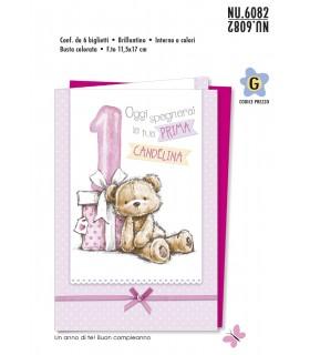 Biglietto Cromo Compleanno 1 Anno Bambina conf. 6 pz.
