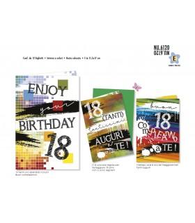 Biglietto Cromo Compleanno 18 anni conf. 12 pz. assortiti