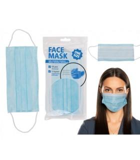 Mascherine Chirurgiche Protettive Face Mask Monouso 3 Strati colore Celeste Blister da 10 pz.