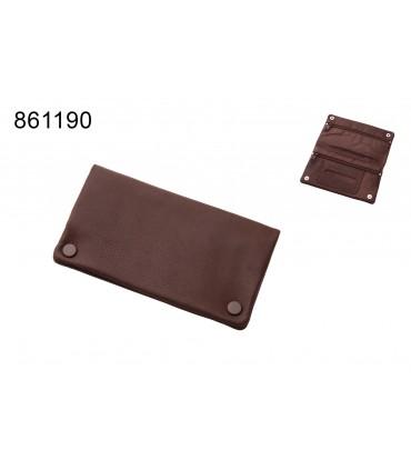 Bustina Porta Tabacco in Pelle Marca Angelo colore Marrone Mis. 9x17 cm