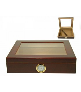 Umidificatore per Sigari Marca Angelo in Legno con Igrometro colore Marrone