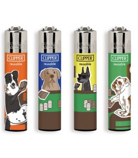 Accendino Clipper Large poker Dogs conf. 48 pz. assortiti con 4 grafiche