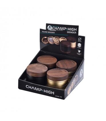 Grinder Champ in Legno e Metallo 4 Parti diam.6.2mm Expo 4 pz. assortito con 2 colori