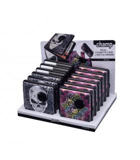 Portasigarette Champ con Apribottiglie Fantasia Skull in Metallo Finitura in Similpelle Expo da 12 pz. assortito con 2 colori