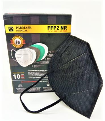 Mascherina Autofiltrante FFP2 CE 2841  colore Nero conf. 10pz (blisterate singolarmente)