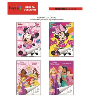 4 Libri da Colorare Minnie e Principesse Disney Marpimar da 16 Pagine assortiti come in foto