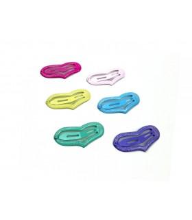 Fermagli Clic Clac Le Kikke Tinta Unita con Glitter L.5 cm Conf. 12 pz. tonalità assortite