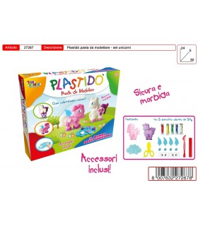 Plastido' Unicorni con Accessori e 5 Panetti colorati da 50g