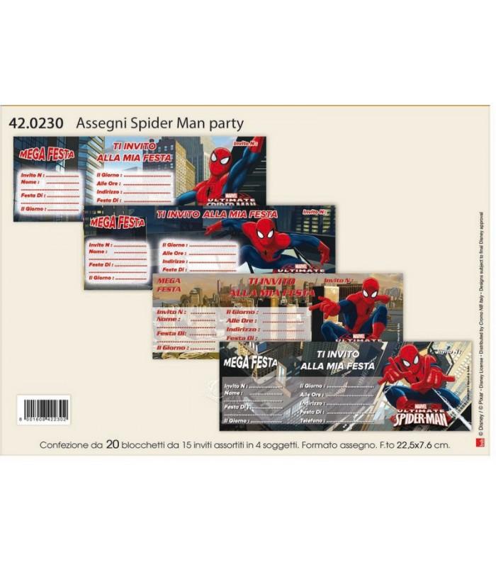 Assegni Spider Man Party conf. da 20 blocchetti da 15 inviti