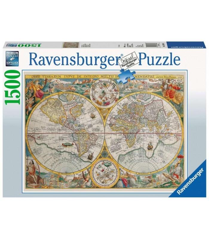 Puzzle Ravensburger 80x60 cm. 1500 pz. Mappamondo storico