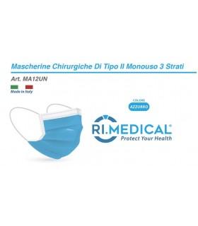 Mascherine Chirurgiche Protettive COLORE AZZURRO Tipo II Monouso conf. 50 pz. (imballate in blister da 10 pz.)