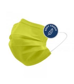 Mascherine Chirurgiche Protettive POPme Monouso 3 Strati colore  Lime Blister da 5 pz.