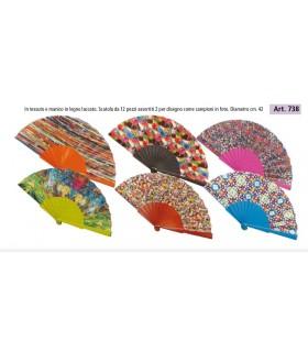 Ventagli in Legno Dipinti a Mano su Entrambi i Lati conf. 12 pz. assortiti come in foto