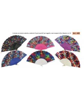 Ventagli in Tessuto e Manico in Plastica scatola da 12 pz. colori assortiti