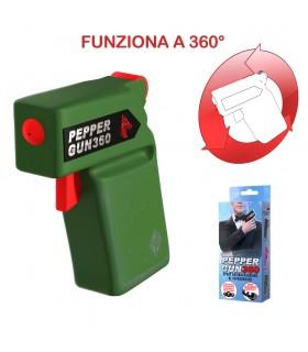 Spray Antiaggressione al Peperoncino 20ml Peper Gun 360 Defence System 2.000.000 Scoville colore Verde