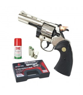 Pistola a Salve Scacciacani Mod. Phyton Revolver Calibro 38mm colore Cromato