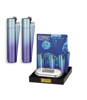 Accendino Clipper Large MEtal Blue Expo da 12 pz.