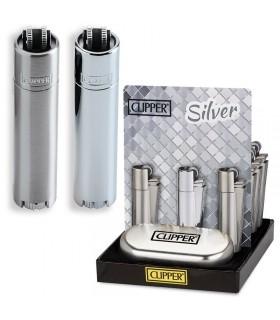 Accendino Clipper Large Silver in Metallo Expo da 12 pz. assortiti