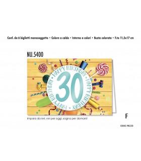 Biglietto Cromo  Compleanno 20 Anni conf. 6 pz. monosoggetto