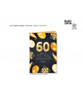 Biglietto Cromo Buon Complenno Palloncini Oro 60 Anni conf. 6 pz. monosoggetto